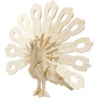 3D konstruktionsfigur, påfågel, stl. 10x20,5x17,5 cm, 1 st.