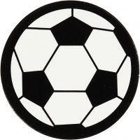 Kartongetikett, fotboll, Dia. 25 mm, vit/svart, 20 st./ 1 förp.