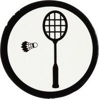 Kartongetikett, badmintonracket + fjäderboll, Dia. 25 mm, vit/svart, 20 st./ 1 förp.