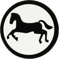 Kartongetikett, häst, Dia. 25 mm, vit/svart, 20 st./ 1 förp.