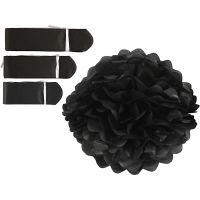 Papperspompomer, Dia. 20+24+30 cm, 16 g, svart, 3 st./ 1 förp.