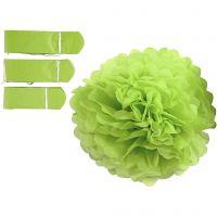 Papperspompomer, Dia. 20+24+30 cm, 16 g, limegrön, 3 st./ 1 förp.