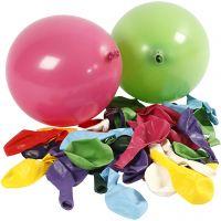 Ballonger, Runda, Dia. 23 cm, mixade färger, 100 st./ 1 förp.
