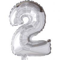 Folieballong, 2, H: 41 cm, silver, 1 st.