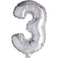 Folieballong, 3, H: 41 cm, silver, 1 st.