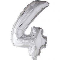 Folieballong, 4, H: 41 cm, silver, 1 st.