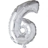 Folieballong, 6, H: 41 cm, silver, 1 st.