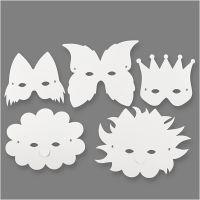 Masker av papp, H: 15-20 cm, 230 g, vit, 5 st./ 1 förp.