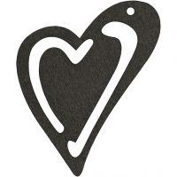 Skevt hjärta, stl. 55x45 mm, tjocklek 2 mm, svart, 10 st./ 1 förp.