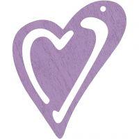 Skevt hjärta, stl. 55x45 mm, tjocklek 2 mm, lila, 10 st./ 1 förp.