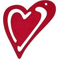 Skevt hjärta, stl. 55x45 mm, mörkrosa, 10 st./ 1 förp.