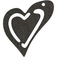 Skevt hjärta, stl. 25x22 mm, tjocklek 1,7 mm, svart, 20 st./ 1 förp.