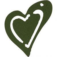Skevt hjärta, stl. 25x22 mm, mörkgrön, 20 st./ 1 förp.