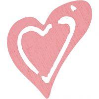 Skevt hjärta, stl. 25x22 mm, rosa, 20 st./ 1 förp.