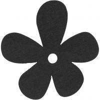 Blommor, stl. 57x51 mm, tjocklek 2 mm, svart, 10 st./ 1 förp.