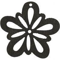 Blommor, Dia. 27 mm, tjocklek 1,7 mm, svart, 20 st./ 1 förp.