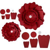Pappersblommor, Dia. 15+25 cm, 230 g, röd, 2 st./ 1 förp.