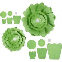 Pappersblommor, Dia. 15+25 cm, 230 g, grön, 2 st./ 1 förp.