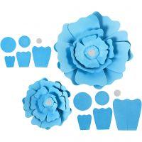 Pappersblommor, Dia. 15+25 cm, 230 g, ljusblå, 2 st./ 1 förp.