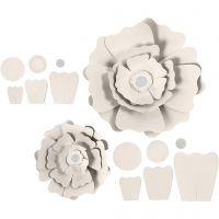 Pappersblommor, Dia. 15+25 cm, 230 g, råvit, 2 st./ 1 förp.