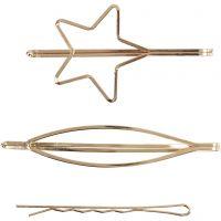 Hårspännen, L: 70 mm, B: 32 mm, förgylld, 3 st./ 1 förp.