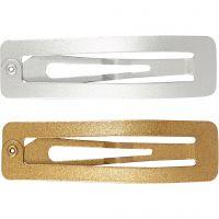 Hårspänne , L: 58 mm, B: 16 mm, guld, silver, 4 st./ 1 förp.