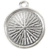 Cabochon berlock, Dia. 16 mm, Hålstl. 1,5 mm, metall, 4 st./ 1 förp.