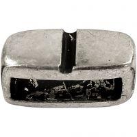 Ledpärla, stl. 6x14 mm, Hålstl. 10x3 mm, antiksilver, 5 st./ 1 förp.