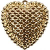 Berlock, hjärta, stl. 28x29 mm, Hålstl. 1 mm, förgylld, 1 st.