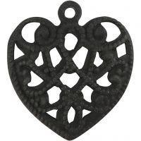 Berlocker, hjärta, stl. 13x14 mm, Hålstl. 1 mm, svart, 4 st./ 1 förp.