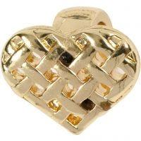 Berlock, hjärta, stl. 13x11 mm, förgylld, 1 st.