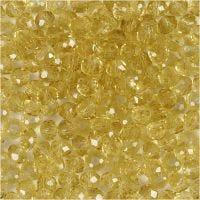 Facettpärlor, Dia. 4 mm, Hålstl. 1 mm, gul, 45 st./ 1 sträng