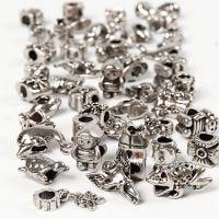 Fashion link, Dia. 7-18 mm, Hålstl. 4 mm, Innehållet kan variera , antiksilver, 100 g/ 1 förp.