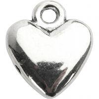 Hjärtan, stl. 13x15 mm, försilvrad, 10 st./ 1 förp.