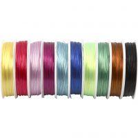 Elastisk smyckestråd, tjocklek 1 mm, mixade färger, 10x25 m/ 1 förp.