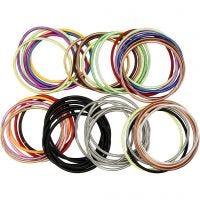 Spiralarmband, L: 18 cm, tjocklek 3 mm, mixade färger, 84 st./ 1 förp.