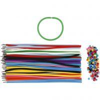 Armband, L: 20 cm, tjocklek 4 mm, mixade färger, 48 set/ 1 förp.