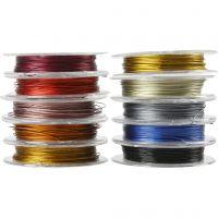 Smyckeswire, tjocklek 0,38 mm, mixade färger, 10x10 m/ 1 förp.