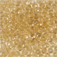 Facettpärlor, stl. 3x4 mm, Hålstl. 0,8 mm, topaz, 100 st./ 1 förp.