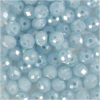 Facettpärlor, stl. 5x6 mm, Hålstl. 1 mm, Havsblå, 100 st./ 1 förp.