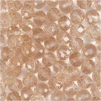 Facettpärlor, stl. 5x6 mm, Hålstl. 1 mm, rosa, 100 st./ 1 förp.