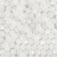 Facettpärlor, stl. 3x4 mm, Hålstl. 0,8 mm, frost, 100 st./ 1 förp.