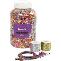 Pärlspann, elastiskt snöre och halsband, stl. 6-20 mm, Hålstl. 1,5-6 mm, mixade färger, 1 set