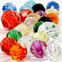 Facetterade plastpärlor, stl. 10-12-16 mm, Hålstl. 1-2,5 mm, 125 ml/ 1 förp., 75 g