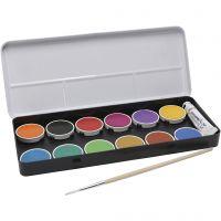 Skoltempera, vattenfärg, Dia. 30 mm, mixade färger, 12 st./ 1 förp.