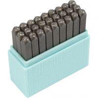 Prägelstämplar, stora bokstäver, stl. 3 mm, Font: Bridgette  , 27 st./ 1 set