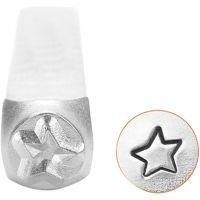 Prägelstämpel, stjärna, L: 65 mm, stl. 3 mm, 1 st.