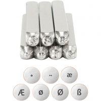 Prägelstämplar, Europeiska bokstäver, L: 65 mm, stl. 3 mm, 7 st./ 1 set
