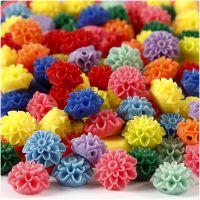 Blomsterpärlor, stl. 15x8 mm, Hålstl. 1,5 mm, mixade färger, 10x25 st./ 1 förp., 300 ml