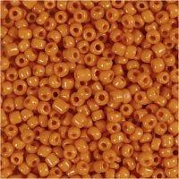Rocaipärlor, Dia. 3 mm, stl. 8/0 , Hålstl. 0,6-1,0 mm, orange, 500 g/ 1 förp.